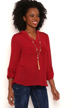 Deb Shops Long sleeve roll tab button front popover with lace yoke pockets $11.25