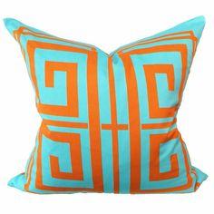 Greek Key Aqua & Orange Pillow