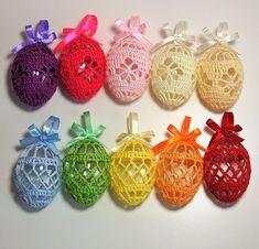 Art Deco Crochet Eggs Patterns - Crochet That! Free Art Deco Easter Crochet Eggs Patterns Learn the Crochet Easter, Easter Crochet Patterns, Crochet Motifs, Holiday Crochet, Crochet Bunny, Crochet Flowers, Crochet Stitch, Crochet Art, Egg Crafts