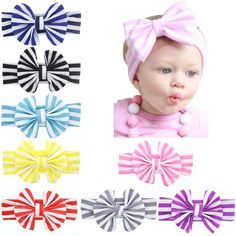 2e94f8ab2afb 8PCS Lot Striped Bow Bunny Ear Elastic Headband Bulk Baby Girl Kids  Toddlers Hair Accessories