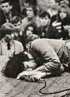 """ babeimgonnaleaveu: "" Jim Morrison passed out on stage in Amsterdam. He had eaten an ounce of hash that day, plus popped all the pills the kids gave him. Pink Floyd, Rock Music, My Music, Jimi Hendricks, El Rock And Roll, The Doors Jim Morrison, Foto Poster, American Poets, Janis Joplin"