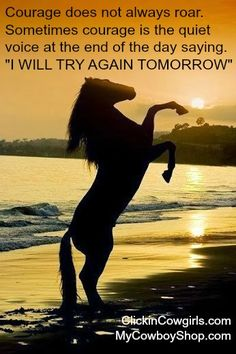 """Courage does not always roar. Sometimes courage is the quiet voice at the end of the day saying. """"I WILL TRY AGAIN TOMORROW"""""""