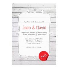 Stylish White Painted Wood Wall Wedding Invitations