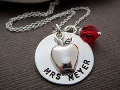 Teacher Apple Necklace Jewelry, Best Teacher Ever, appreciation gifts for TEACHERS, Sterling Silver jewelry teacher Necklace w/ Birthstone on Etsy, $48.00