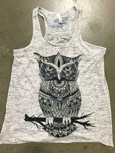 Premium Owl Zentangle Grey Marble Girls Tank