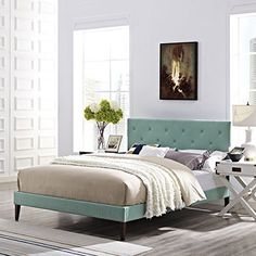 Modway Terisa Queen Fabric Platform Bed with Squared Tapered Legs in Laguna