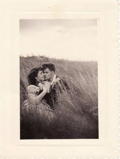 """""""Here are my French grandparents, Marie-Thérèse and Georges, in the 50's for their second date.  The sister of my grandfather took this picture in a field of French country.  They married few months later.  - Mei """""""