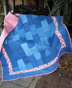 Quilt - Denim and Batik Lap Quilt - Denim Daisies Quilt by QuiltsintheCity on Etsy