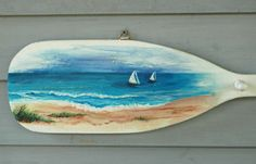 Painted Seascape on a Wooden Oar/Paddle by KaiHinaCoastal on Etsy