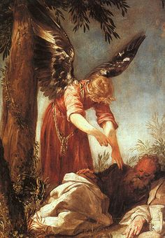 """An Angel Awakens the Prophet Elijah - """"But he himself went a day's journey into the wilderness, and came and sat down under a juniper tree: and he requested for himself that he might die; and said, It is enough; now, O LORD, take away my life; for I am not better than my fathers. And as he lay and slept under a juniper tree, behold, then an angel touched him, and said unto him, Arise and eat."""" - 1 Kings 19: 4-5. Painting by Juan Antonio Frias y Escalante"""