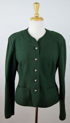 Geiger Collections 40 Boiled Wool Green Jacket Women's US 10 #GEIGER #BasicJacket