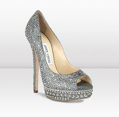 Love! KENDALL, in metallic leather embellished with crystals, is the perfect evening platform peep toe pump. Heel height measures 145mm/5.7