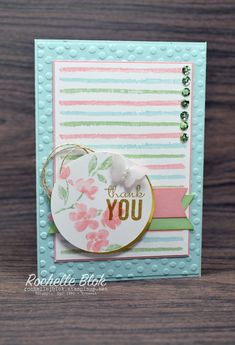 Stampin' Up! ... hand crafted card  from Stamp Review Crew: Painted Petals Edition ... luv how she created a background design with the lines from the set ... circle medallion with flower and sentiment ... lovely card ...