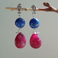 Ruby, Lapis Lazuli, Gemstone Drop Earrings over 12 carats of rubies