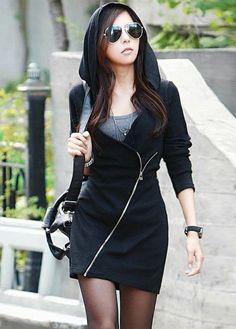 Black Hooded Sweatshirt Dress? Yeah, alright!                                                                                                                                                                                 Más
