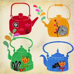 kettles - my kids started me on a tea pot collection years ago. They are such a comforting symbol - and I love the colors in this image.