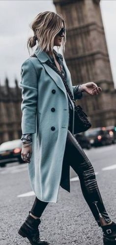 Long blue coat with leather pants, ankle boots and elegant shirt. Edgy yet classy. Street style fall… Long blue coat with leather pants, ankle boots and elegant shirt. Edgy yet classy. Street style fall and winter outfit inspiration. Fashion Mode, Look Fashion, Trendy Fashion, Winter Fashion, Womens Fashion, Fashion Ideas, Fashion Inspiration, Dress Fashion, Fashion Outfits