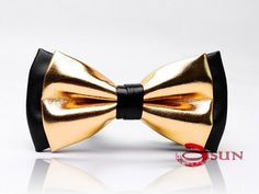 Mens PVC Faux Leather Gold Golden Black Shining Bow Tie Bowties Wedding Party…