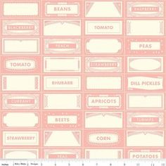 Riley Blake Farm Girl Canning Labels Pink from Designed by October Afternoon for Riley Blake, this cotton print fabric is perfect for quilting, apparel and home decor accents. Colors include shades of blush pink and cream. Pink October, October Afternoon, Canning Labels, Thing 1, Handmade Birthday Cards, Handmade Cards, Stampin Up Christmas, Riley Blake, Heartfelt Creations