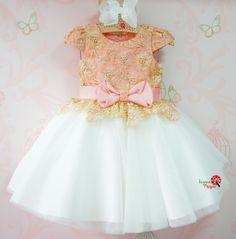 Vestido de Festa Infantil Bordado Luxo Saia Tule Petit Cherie