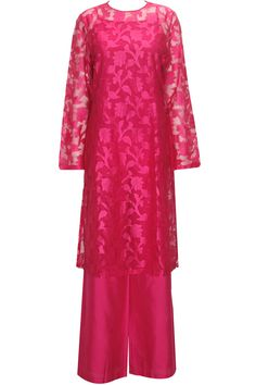 ANITA DONGRE Fuchsia flowers woven kurta with flared pants available only at Pernia's Pop-Up Shop.