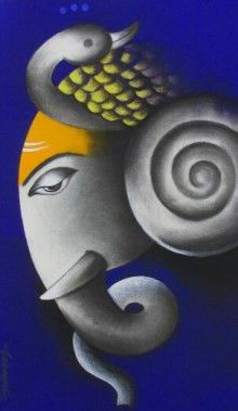 Blue-Violet Mixed Media Painting by Somnath Bothe on canvas, God/Godess based on theme Ganesha. Get this beautiful painting of Lord Ganesha by Somnath Bothe at best price on Artzolo..
