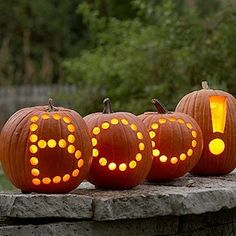 Boo!  I did this only with white craft pumpkins and cut out the letters then outlined them in black marker...very cool!!
