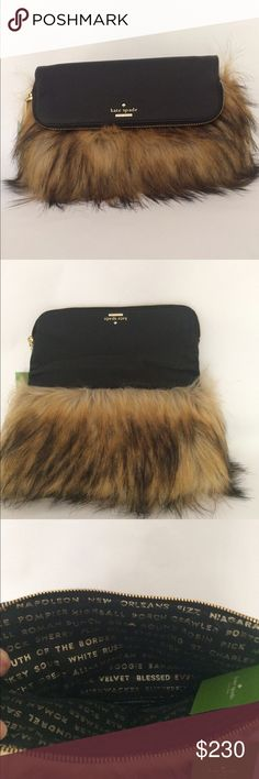 Just In! Kate Spade clutch  Elegant meets fluffy Animal with this NWT Clutch-plus from Kate Spade. Style is Steffe, Evening Belles in brown. Clutch opens up with magnet to reveal roomy exterior. Faux fur obviously but so pet-able! Size is 12 x 8. Unfolded the height becomes 12 inches. kate spade Bags Clutches & Wristlets