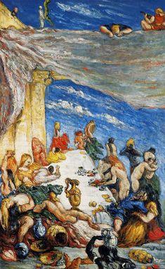 """artist-cezanne: """" The Feast. The Banquet of Nebuchadnezzar, Paul Cezanne Size: cm Medium: oil on canvas"""" Aix En Provence, Pierre Auguste Renoir, Free Art Prints, Canvas Art Prints, Vincent Van Gogh, Painting Gallery, Art Gallery, Monet, Paul Cezanne Paintings"""