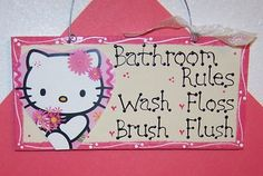 hello kitty bathroom...well i wanted to redecorate kobis bathroom with crowns and she wants hello kitty so of course she wins =)
