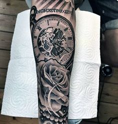 Pocket Watch Tattoo With Roses And Pearl Strings Tattoo On Forearms Men