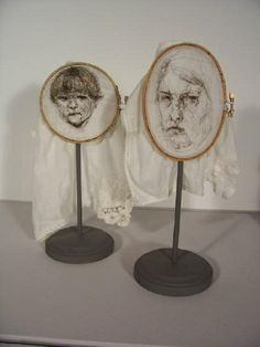 Leslie Schomp+Self-Portrait with Son: Hair on Cloth, embroidery hoops, wood