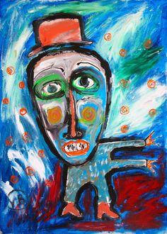 """""""Cuando tengas un rato, te miras a ti mismo"""" de Victoria Barranco @ VirtualGallery.com - Pintura acrílica en cartón de 50x70 cm (19.7x27.6 in). Arte marginal. Persona contemplándose en otra como en un espejo. (2015)"""