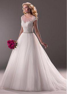 Charming Tulle & Satin A-line Illusion Jewel Natural Waist Wedding Dress