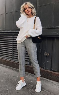 Plaid pants + cozy knit.