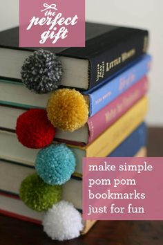 DIY pom pom bookmark--do this with kids