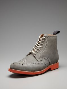 Love these Grenson boots with contrast sole + wingtip detail