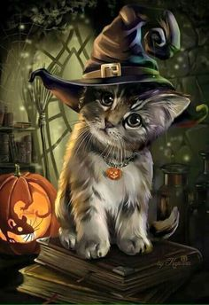 ▷ 1001 + ideas for Halloween pictures to match the mood- ▷ 1001 + Ideen für Halloween Bilder zur passenden Stimmung a little cat with a witch hat, a little mouse in the pumpkin carved halloween background - Photo Halloween, Halloween Cat, Halloween Images, Halloween Pictures To Draw, Cute Halloween Drawings, Witch Pictures, Samhain Halloween, Halloween 2018, Halloween Costumes