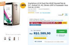 """Smartphone LG G4 Dual Chip H818P Dourado Tela de 5.5"""" Android 5.0 4G Câmera 16MP Hexa Core de 1.8 GHz << R$ 151040 >>"""