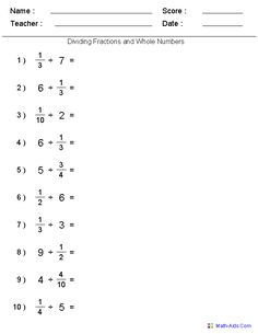 Dividing Fractions with Whole Numbers Worksheets