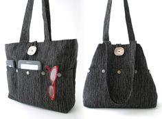 black tote purse, upholstery  bag, diaper bag, black and grey handbag, multi pockets shoulder bag,
