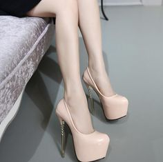 MANMITU8-Free Shipping Abnormal heel Patent Leather Round Toe Single shoes Women Platform heels Fashion Pumps Zapatos Mujer 16cm