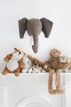 felt animal head - wall mounted elephant