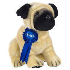 FAO Schwarz 10 inch Blue Ribbon Plush Pug - Tan and Black - FAO Schwarz®