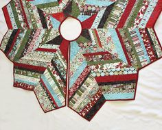 RESERVED for SARAH - Figgy Pudding Christmas Tree Skirt String Pieced  Quilt -  Moda Jovial Fabric