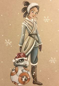 Disney Style, Disney Art, Star Wars Christmas, Rey Star Wars, Bb8, Princess Zelda, Disney Princess, Princesas Disney, Winter Holidays