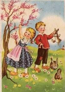 Vintage Easter Card (non-attributed) Vintage Cards, Vintage Postcards, Vintage Ideas, Vintage Images, World Friendship Day, Spring Scene, Summer Scenes, Easter Wishes, Easter Greeting Cards