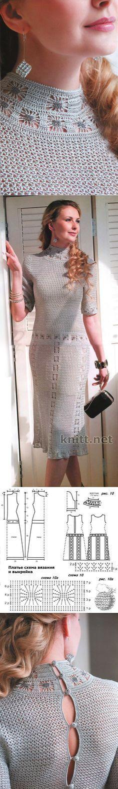 Stupendo ed elegante abito all'uncinetto