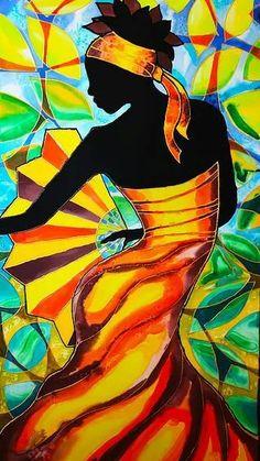 African Dancer Painting - Alycia In Belize by Lee Vanderwalker Black Women Art, Black Art, Tableau Pop Art, Afrique Art, African Art Paintings, Caribbean Art, Art Africain, African American Art, Silk Painting