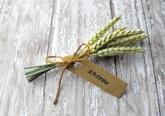 WHEAT PLACE CARDS- Country Wedding-Wheat Sheaf Place Cards-Fall Wedding-Table Setting-Wedding Favors-Set of 10